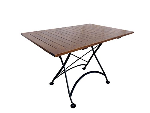 Mobel Designhaus French Café Bistro Folding Table, Jet Black Frame, 32'' x 48'' x 29'' Height, Rectangular European Chestnut Wood Slat Top with Walnut Stain by Mobel Designhaus