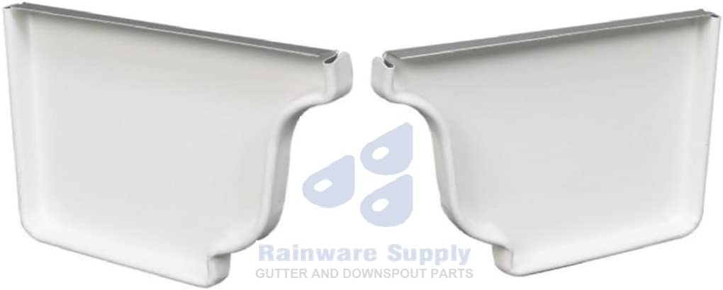 6 Package of 1 inch Aluminum Gutter Right end cap White
