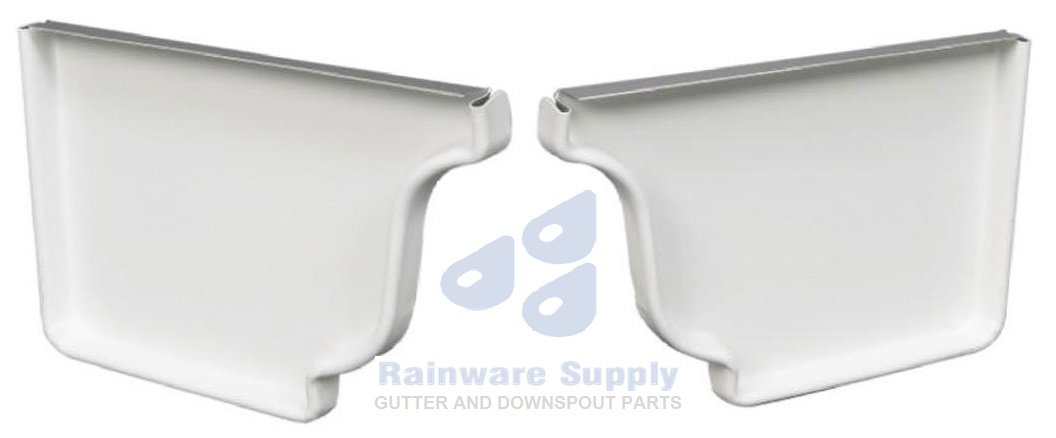 Rainware Supply 5-Inch Aluminum End Caps for K Style Gutters (1 Pair - 1 Left and 1 Right) (White)