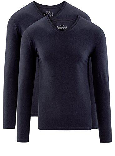 7901n Senza Ultra T Maniche Oodji Di pacco Con Lunghe Blu Etichetta 2 shirt Uomo wORnx0qC
