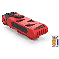 Foldylock Fl001RD - Folding Bicycle Link Lock Lightweight Foldable Flexible Compact and Secure Bike Lock in Red