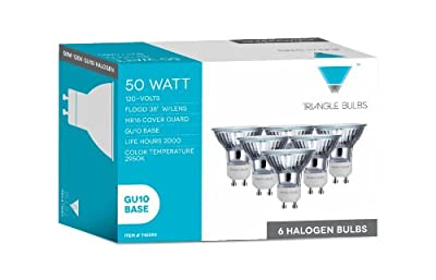 Triangle Bulbs T10293-6 (6 pack) - 50 Watt, GU10 Base, 120 Volt, MR16 With UV Glass Cover, Halogen Flood Light Bulb, Q50MR16/FL/GU10, 6 Pack