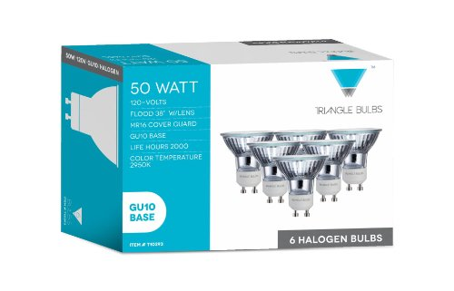Triangle Bulbs T10293-6 (6 pack) – 50 Watt, GU10 Base, 120 Volt, MR16 With UV Glass Cover, Halogen Flood Light Bulb, Q50MR16/FL/GU10, 6 Pack