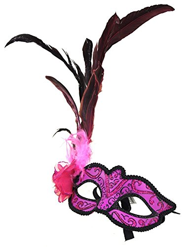 Hagora, Women's Enigma Ball Vivid And Black Tones Combined Long Feathers Mask,Pink One Size fits (Masked Ball Outfit)