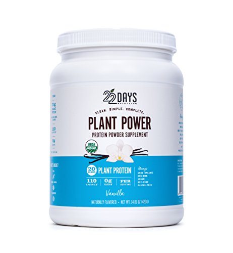 22 Days Nutrition Organic, Gluten Free, Vegan- Pea, Flax, and Sacha Inchi- Plant Based Protein Powder (20g) Vanilla Tub- No Added Sugar, Naturally Sweetened with Stevia- 14.81 Ounce