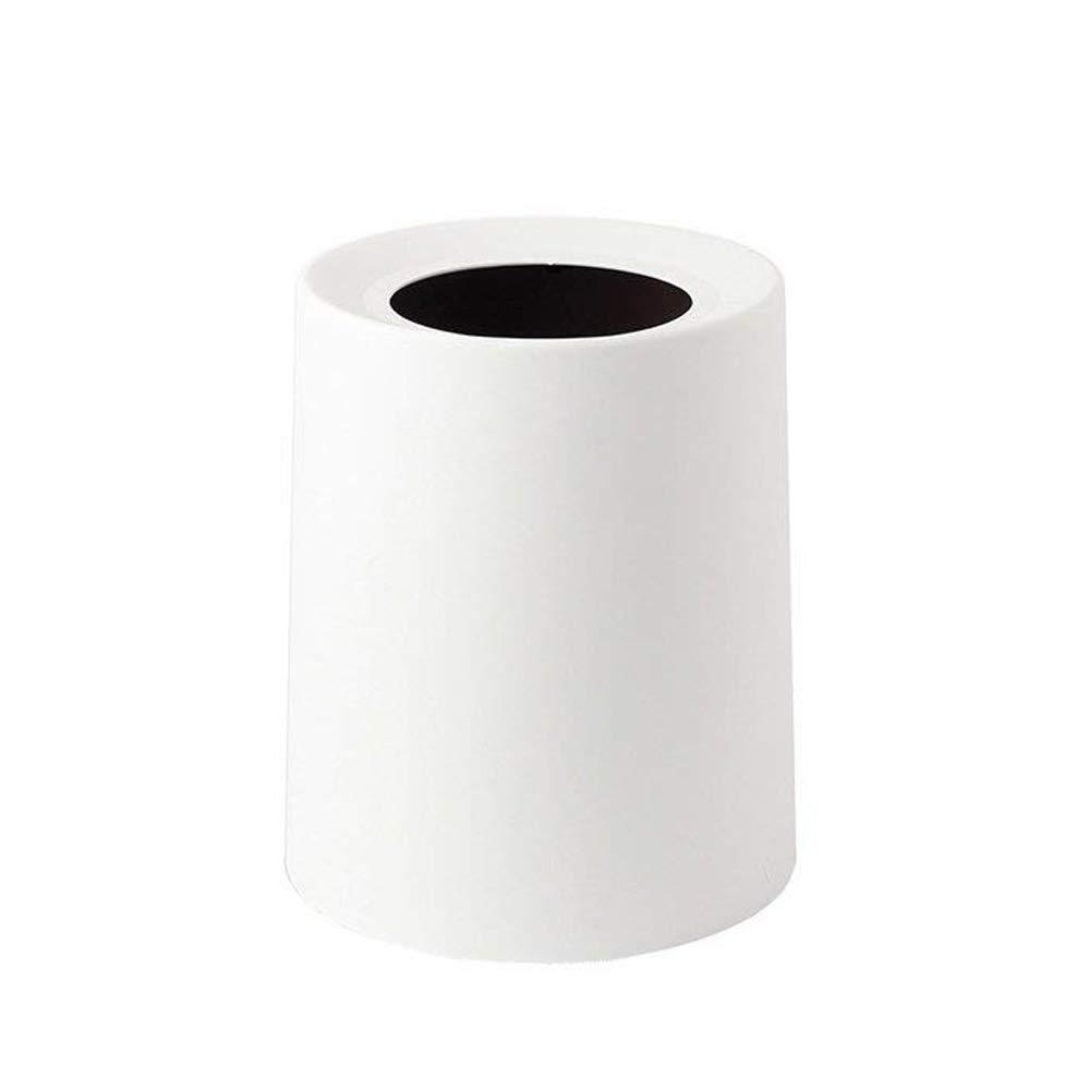 Baffect Cestino per cestino per rifiuti, Bianco Cestino Può Dustbin Spazzatura Bin Doppio strato Wastebasket Spazzatura per il bagno Camera da letto Cucina (M)