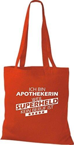 Shirtstown Bolso de tela Estoy Farmacéutico, weil Superheld sin Trabajo ist Rojo