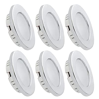 Dream Lighting 2W LED Ceiling Light - Silver Shell Recessed Downlight Pack of 6: Automotive