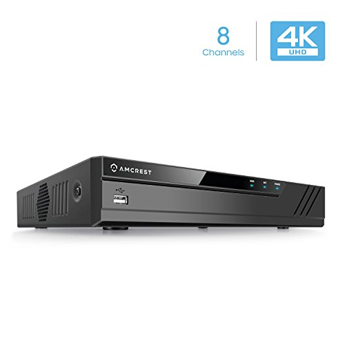 Amcrest NV4108-HS 4K NVR (8CH 1080p/3MP/4MP/5MP/6MP/8MP) Network Video Recorder - Supports up to 8 x 8-Megapixel IP Cameras @30fps Realtime, Supports up to 6TB HDD (Not Included) (No Built-in WiFi)