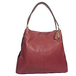 COACH Madison Rouge Pink Leather Small Phoebe Shoulder Handbag; 26224