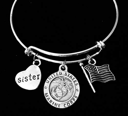 Marine Sister Jewelry Expandable Charm Bracelet Silver Adjustable Bangle One Size Fits All Gift USA Military USMC Personalization Options