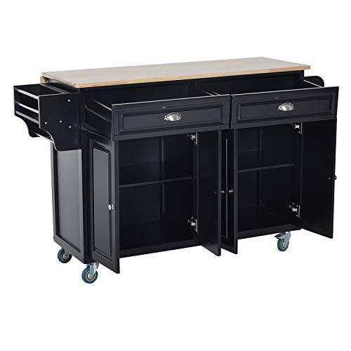 Black Extendable Drop-Leaf Rubberwood Top Rolling Kitchen Island Cart 2 Cabinets 2 Drawers Towel Bar Spice Rack Knife Holder Pantry Silverware Utensils Kitchenware Dishware Dishes Storage Organizer