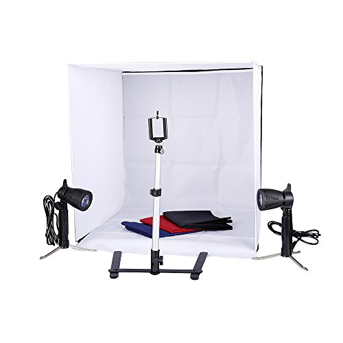Studio Light Tent Kit by Kshioe,60x60cm/2x2ft Table Top Photography Lighting Box with Camera Camcorder Tripod Stand Phone Clip Holder and 50W LED Photo Spotlight Contain Light Stand