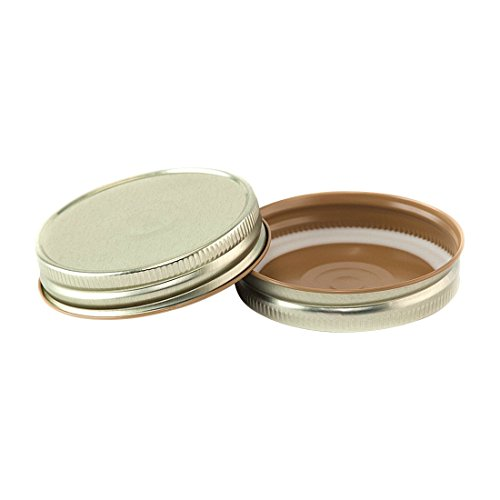 North Mountain Supply Regular Mouth Metal One Piece Mason Jar Safety Button Lids - Pack of 72 - Gold Hi-Heat