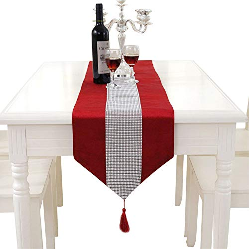 Hangnuo Wedding Elegant Tassel Sequined Rhinestone Contracted Classic Table Runner 13*83inch Red (Valentine Table Decorations)