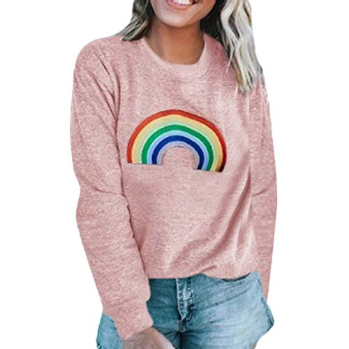 (Tsmile Women's Rainbow Printed Sweatshirt Plus Size Long Sleeve Round Neck Warm Loose Casual Pullover Tops Blouse)