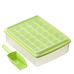 EGOFLEX Ice Cube Tray Storage Box with Spill Resistant Lid - 30 Ice Cubes Mold for ice tea, coffee, and soft drinks