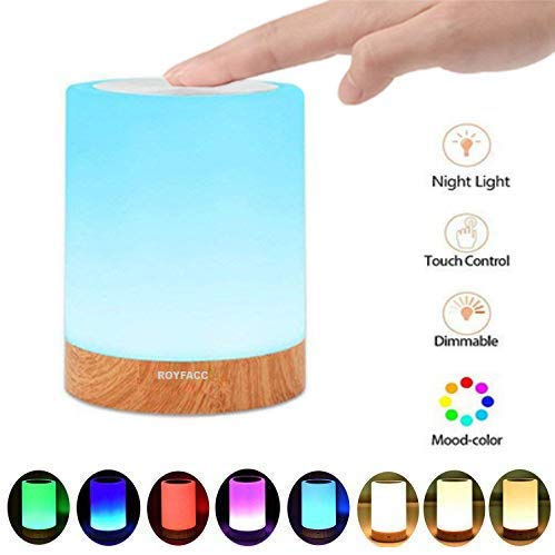ROYFACC Table Lamp Touch Sensor Lamp Bedside LED Night Light for Kids Bedroom Rechargeable Dimmable Warm White Light + RGB Color Changing by ROYFACC (Image #1)