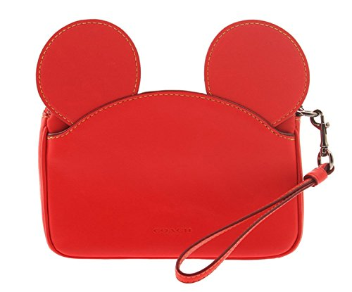 COACH MICKEY Wristlet in Glove Calf Leather with Mickey Ears (Bright Red) by Coach