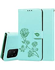 Miagon Wallet Case for Samsung Galaxy S10 Lite,PU Leather Magnetic Rose Flower Pattern Flip Protective Cover with Kickstand Card Holder Function,Green