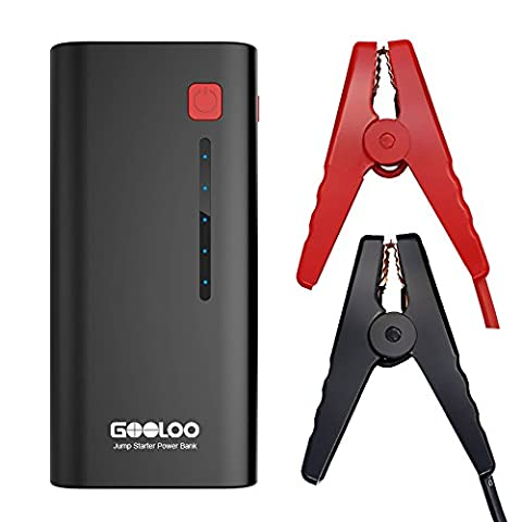 GOOLOO 600A Peak Car Jump Starter (Up to 6.5L Gas or 5.0L Diesel Engine) Portable Phone Power Bank Auto Battery Pack Booster Charger with LED Light and Multiple Protected Smart Clamp
