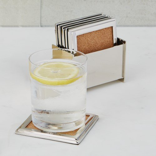 Luxe Modern Silver Nickel Frame Coaster Set 6 | Holder Caddy Cork Square Classic by Global Views