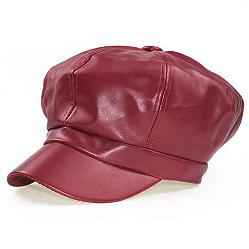- MEIZOKEN PU Leather Octagonal Hat Women New Hats Fashion Newsboy Cap for Female 4 Colors,No.3