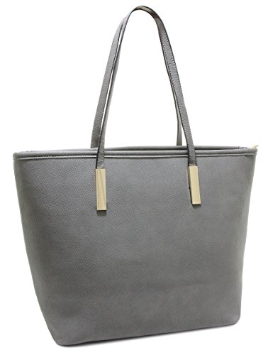 Womens Soft PU Leather Top Handle Shoulder Handbag Large Work Tote Bag (Grey)
