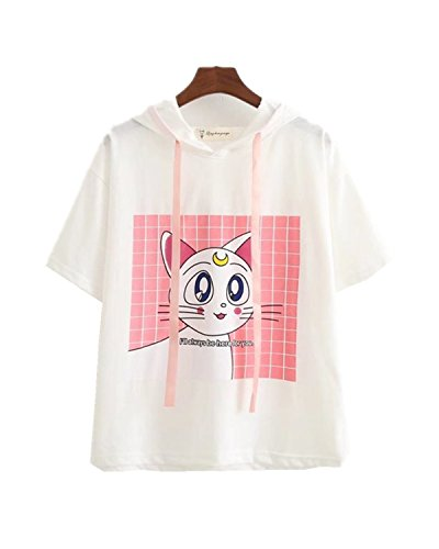 Acccity Anime Sailor Moon Style Summer Short Sleeve Hoodie T-Shirt Cosplay Costume (White, One Size) ()