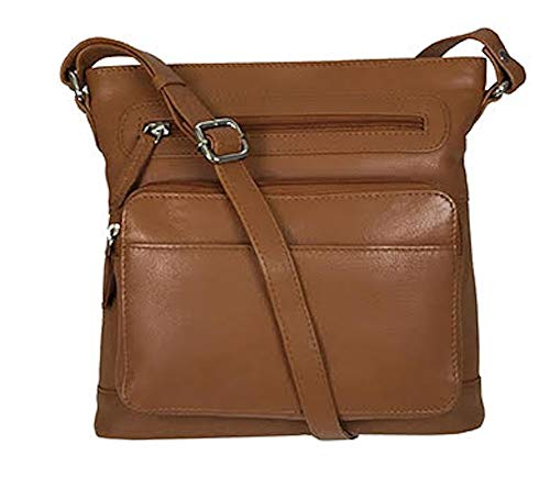 (Pielino Genuine Leather Travel Crossbody Handbag with RFID Organizer Pocket 93903 (Camel))