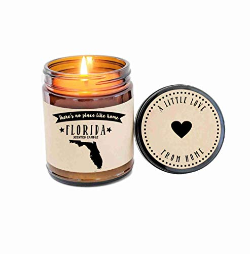 (Florida Scented Candle Missing Home Homesick Gift Moving Gift New Home Gift No Place Like Home State Candle Miss You Valentines Day Gift)