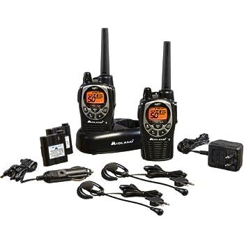 Midland - GXT1000VP4, 50 Channel GMRS Two-Way Radio - Up to 36 Mile Range Walkie Talkie, 142 Privacy Codes, Waterproof, NOAA Weather Scan + Alert (Pair Pack) (Black/Silver)