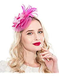 345ee6c28cfe4 Fascinators Headband for Women Tea Party Hat Kentucky Derby Wedding Flower  Mesh Feathers Hair Clip