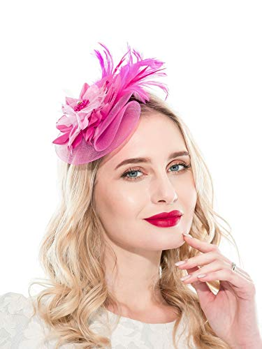 Fascinators Headband for Women Tea Party Hat Kentucky Derby Wedding Flower Mesh Feathers Hair Clip (Rose)