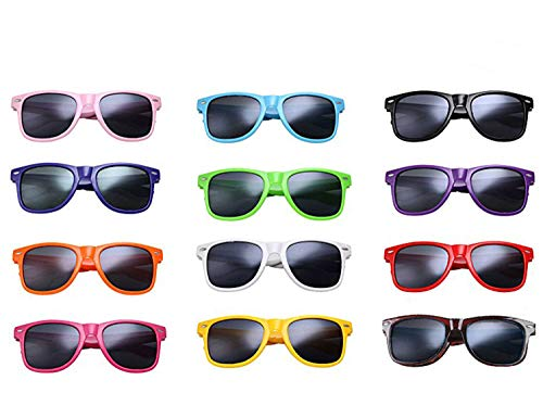 12 Packs Wholesales 80's Retro Style Neon Party Sunglasses 400 UV Protection for Party Favors,Photo Booth Prop,Goody Bag Favors,End of Year Giveaway,Birthdays Gifts for Mam & Women (12 Multicolor) for $<!--$19.99-->