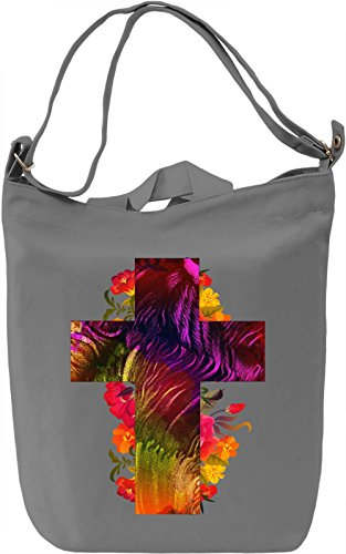 Flower Cross Borsa Giornaliera Canvas Canvas Day Bag| 100% Premium Cotton Canvas| DTG Printing|