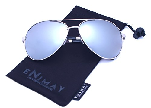 Enimay Men's Women's Mirrored Aviator Style Summer Sunglasses UV 400 Protection 006sil Silver One - Without Earpieces Sunglasses
