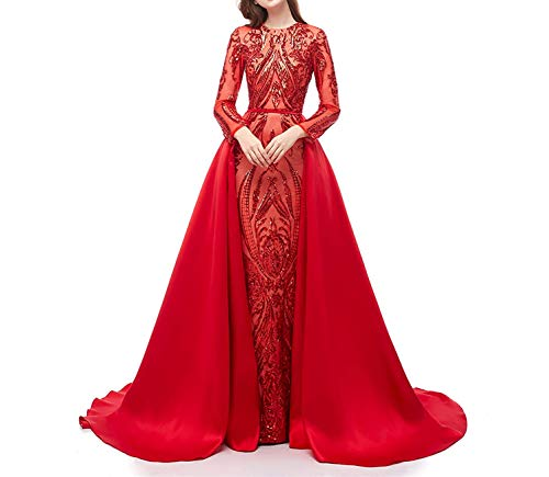 (Aries Tuttle Red Sequined Satin Mermaid Prom Evening Party Dress Celebrity Pageant Gown Detachable Train)