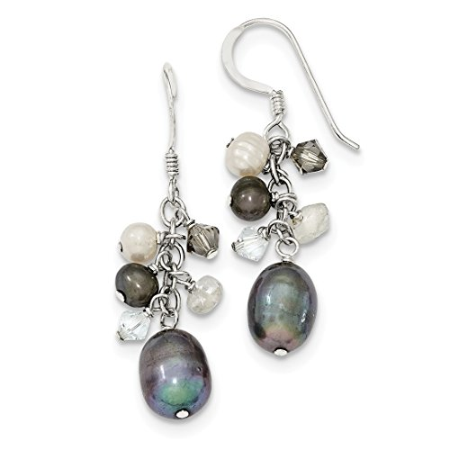 - ICE CARATS 925 Sterling Silver Blue Crystal/peacock White Freshwater Cultured Pearl Drop Dangle Chandelier Earrings Fine Jewelry Ideal Gifts For Women Gift Set From Heart