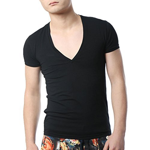 Zbrandy Men Deep V Neck T Shirts Low Cut Tee Shirts Fitted Vee Top Black ()