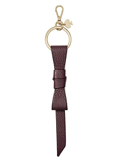 Kate Spade New York Pebbled Leather Bow Keychain Key Fob Ring Deepplum