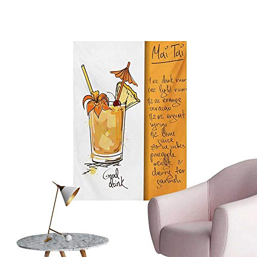 Anzhutwelve Tiki Bar Mural Decoration Hand Drawn Style Mai Tai Cocktail in a Glass and The Recipe Hawaiian DrinkOrange and White W32 xL36 Poster -