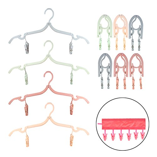 Aasri 10 PCS Portable Clothes Hanger with 1 PCS Cloth Clip-