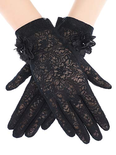 (SATINIOR Ladies Lace Gloves Elegant Short Gloves Courtesy Summer Gloves for Wedding Dinner Parties (Black 5))