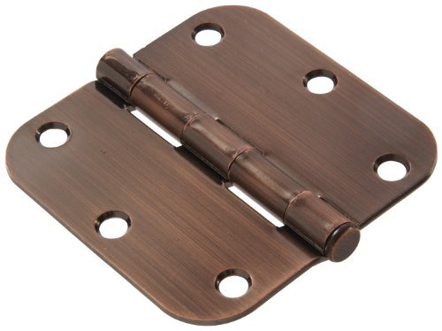 - The Hillman Group 852807 3-1/2 Residential Door Hinge - 5/8 Round Corner - Removable Pin - Full Mortise - Antique Bronze 1-Pack (2)