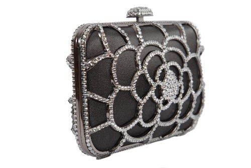 main coffret sac pochette sac satin monture minaudière style en par diamant noir couvert Berg Olga pod à wAxqx5BI