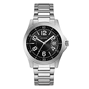 GUESS Men's Japanese-Quartz Watch with Stainless-Steel Strap, Color: Silver-Tone, 21 (Model: U1103G1)