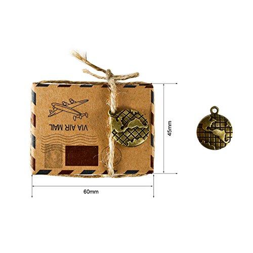Foonii Set de 50 Cajas para dulces bombones Caja kraft de boda regalo Rústico,novio y de la novia Candy Caja Papel Boda Regalos Cajas de caramelo de Fiesta ...