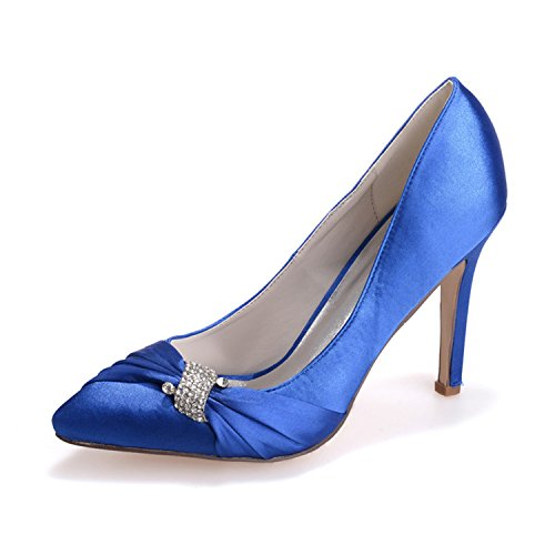 ZXF0608 Party Evening Heels Bridal Satin Crystal High Wedding Toe Shoes Prom Royal With Rhinestone Pointed 23 Blue Clearbridal Women's For q8vxfw7ca