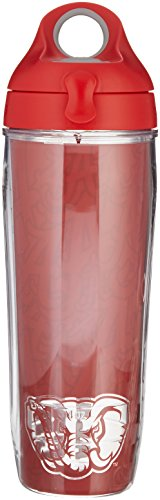 Tervis Alabama University College Pride Wrap Water Bottle with Red Lid, 24 oz, (Alabama Insulated Bottle)